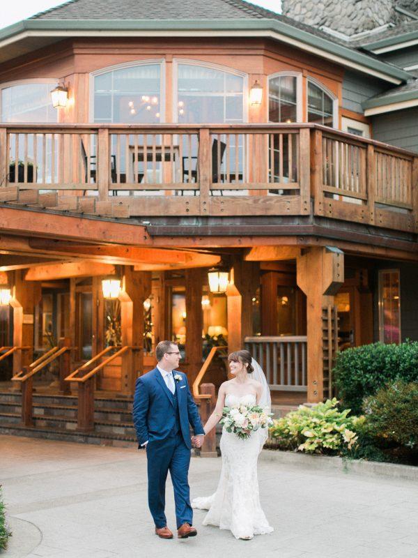 Bride and groom celebrating.