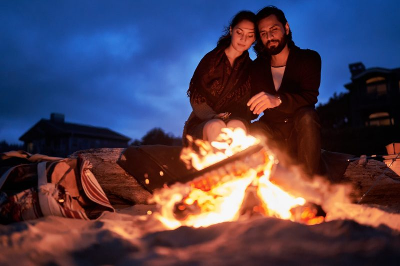 Bonfires on the beach in Oregon